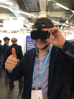 vr-on GmbH's Head of Sales trying out Vality headset
