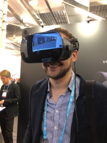 vr-on GmbH's Head of Sales trying out the Varjo high resolution VR headset