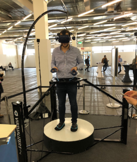 vr-on GmbH's Head of Sales trying out the Cyberith Virtualizerr