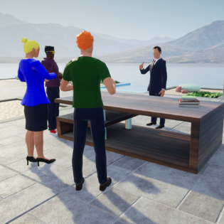 Virtual outdoor classroom with avatars, where a male professor is teaching students