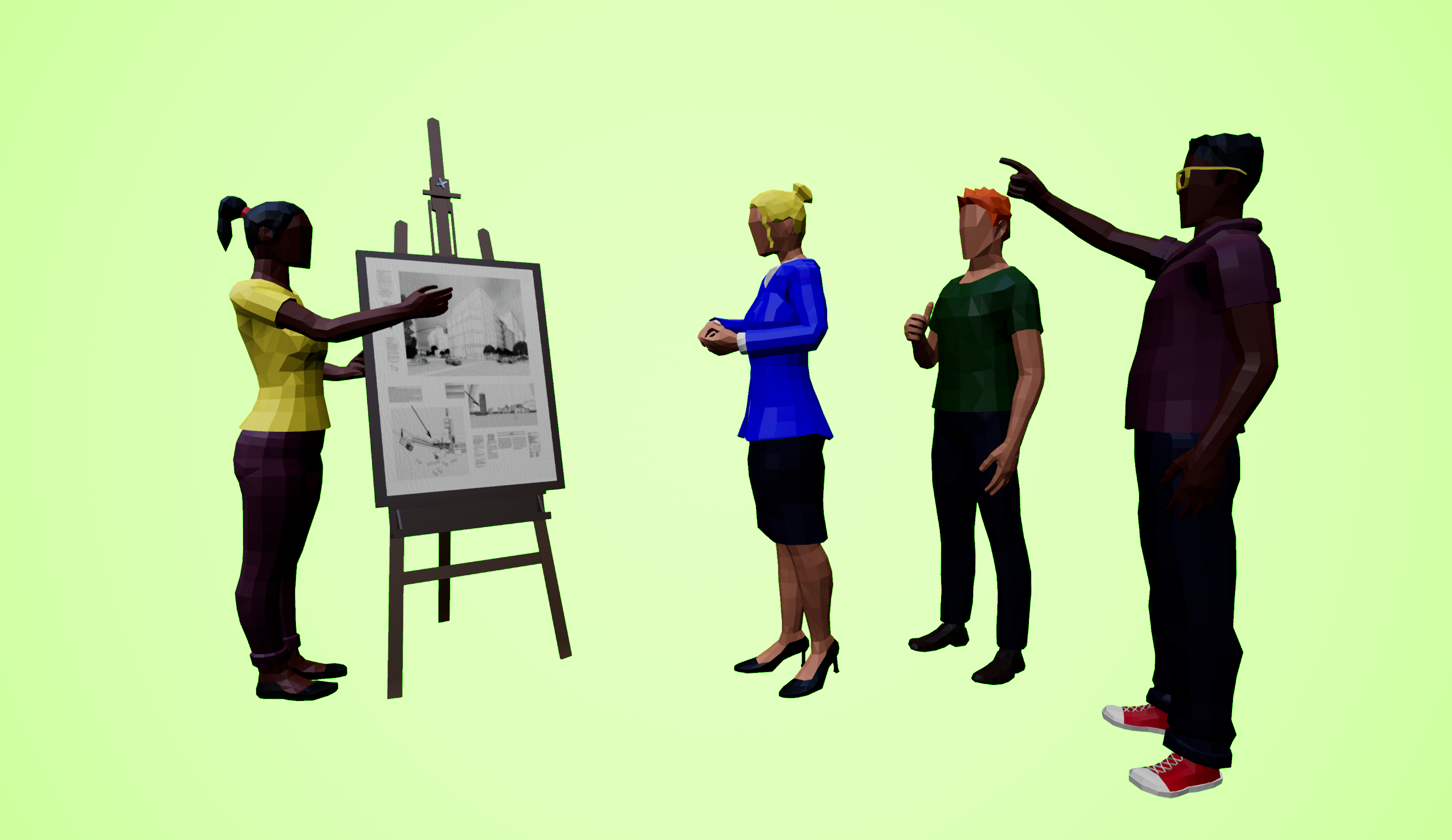 Avatars discussing in a virtual classroom