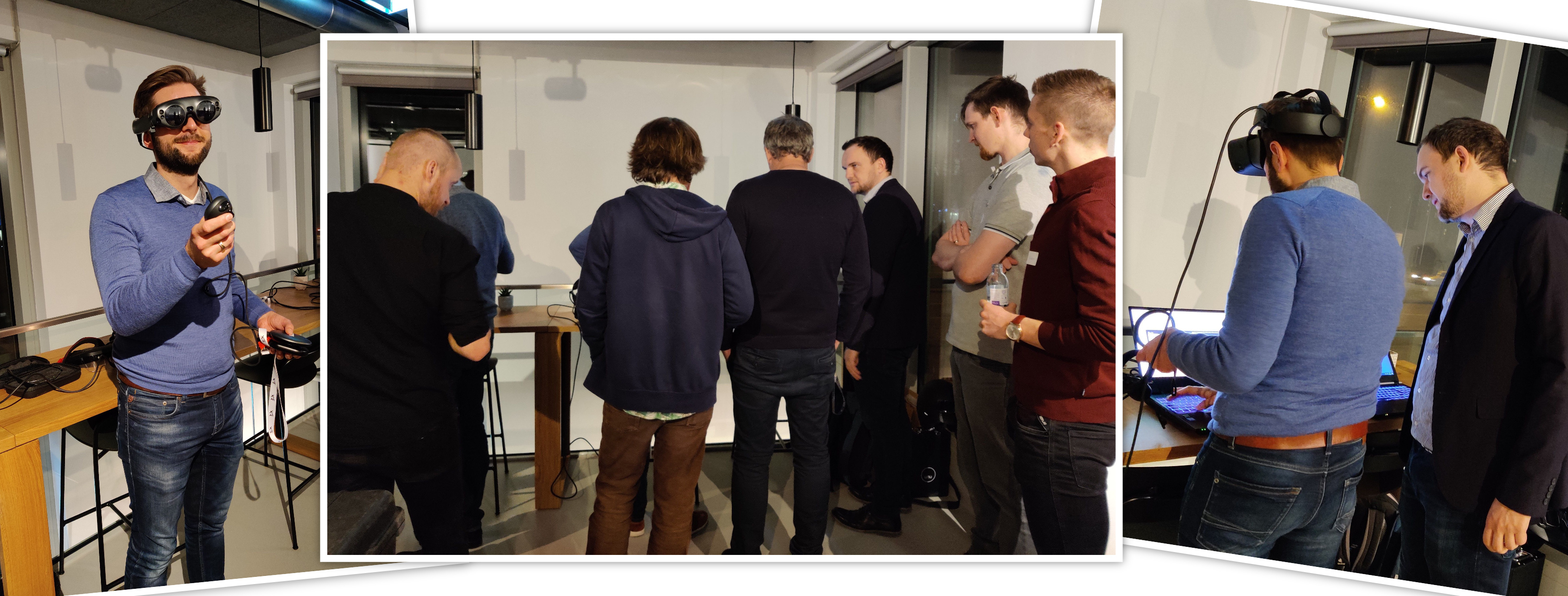The vr-on GmbH team demonstrating STAGE at the XR Bavaria Meetup in Munich